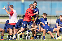 BRADENTON, FL - JANUARY 23: Chris Mueller, Aaron Herrera battle for a ball during a training session at IMG Academy on January 23, 2021 in Bradenton, Florida.