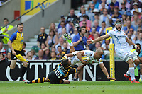 Olly Woodburn of Exeter Chiefs is tackled by Willie Le Roux of Wasps near the line during the Premiership Rugby Final at Twickenham Stadium on Saturday 27th May 2017 (Photo by Rob Munro)