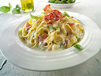 Pasta Carbonara - pasta in a cream cheese sauce with bacon