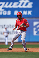 Harrisburg Senators catcher Pedro Severino (4) leads off second during a game against the Erie Seawolves on August 30, 2015 at Jerry Uht Park in Erie, Pennsylvania.  Harrisburg defeated Erie 4-3.  (Mike Janes/Four Seam Images)
