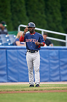 Lowell Spinners manager Corey Wimberly (13) gives signals during a game against the Batavia Muckdogs on July 14, 2018 at Dwyer Stadium in Batavia, New York.  Lowell defeated Batavia 8-4.  (Mike Janes/Four Seam Images)