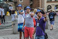 World Youth day Krakow 2016<br /> Tre ragazzi fanno tre selfie