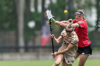 NEWTON, MA - MAY 14: Kelly Horning #17 of Fairfield University fouls Courtney Weeks #6 of Boston College during NCAA Division I Women's Lacrosse Tournament first round game between Fairfield University and Boston College at Newton Campus Lacrosse Field on May 14, 2021 in Newton, Massachusetts.