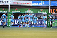 Jonny Gray of Glasgow Warriors celebrates scoring his sides fourth try during the Heineken Champions Cup Round 2 match between the Cardiff Blues and Glasgow Warriors at Cardiff Arms Park Stadium in Cardiff, Wales, UK. Sunday 21 October 2018