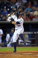 Mikie Mahtook (8) of the Toledo Mud Hens at bat against the Louisville Bats at Fifth Third Field on June 16, 2018 in Toledo, Ohio. The Mud Hens defeated the Bats 7-4.  (Brian Westerholt/Four Seam Images)