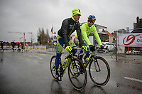 Peter Sagan (SVK/Tinkoff-Saxo) & Matti Breschel (DEN/Tinkoff-Saxo) on their way to a rainy start (in Deinze)<br /> <br /> 77th Gent-Wevelgem 2015