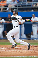 Johnny Aiello (2) of the Wake Forest Demon Deacons follows through on his swing against the Florida Gators in the completion of Game Two of the Gainesville Super Regional of the 2017 College World Series at Alfred McKethan Stadium at Perry Field on June 12, 2017 in Gainesville, Florida. The Demon Deacons walked off the Gators 8-6 in 11 innings. (Brian Westerholt/Four Seam Images)