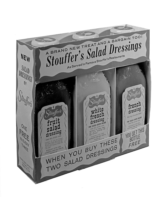 Client: Stouffers Foods<br /> Ad Agency: Ketchum, MacLeod & Grove<br /> Contact: Dana Gilpin<br /> Product: Stouffers Salad Dressings<br /> Location: Brady Stewart Studio, 725 Liberty Avenue Pittsburgh<br /> <br /> The STOUFFER'S Brand traces its roots to 1922 when Abraham and Mahala Stouffer opened a small coffee shop in Cleveland Ohio featuring delicious home-made food.