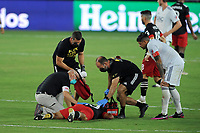 WASHINGTON, DC - AUGUST 25: Edison Flores #10 of D.C. United gets injured during a game between New England Revolution and D.C. United at Audi Field on August 25, 2020 in Washington, DC.