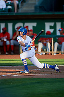 Kevin Lachance (5) of the Ogden Raptors bats against the Orem Owlz in Pioneer League action at Lindquist Field on June 21, 2017 in Ogden, Utah. The Owlz defeated the Raptors 16-5. This was Opening Night at home for the Raptors.  (Stephen Smith/Four Seam Images)