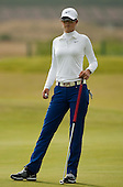 Michelle Wei waits to putt on the 6th green during the first round play of the  Ricoh Woman's British Open to be played over the Championship Links from 28th to 31st July 2011; Picture Stuart Adams, SAFOTO. www.safoto.co.uk; 28th July 2011