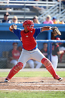 Auburn Doubledays catcher Wilfri Pena #16 during a game against the Batavia Muckdogs at Dwyer Stadium on July 17, 2011 in Batavia, New York.  Batavia defeated Auburn 8-3.  (Mike Janes/Four Seam Images)