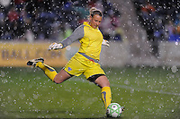 April 25, 2009 Boston Breakers vs. Chicago Red Stars--# 1 Kristin Luckenbill of the Boston Breaker on a goal kick as it started to rain at the end of the first period against the Chicago Red Stars. Red Stars win the match 4-0.