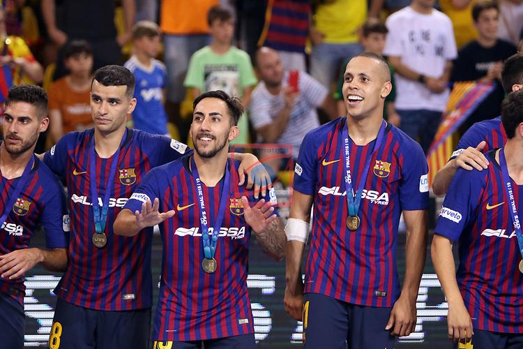 League LNFS 2018/2019.<br /> Play Off. Game: 5.<br /> FC Barcelona Lassa vs El Pozo Murcia: 3-2.<br /> Adolfo, Esquerdinha, Joselito & Ferrao.
