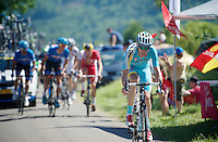Lieuwe Westra (NLD/Astana) up the Côte de Rogna (7.6km/4.9%)<br /> <br /> 2014 Tour de France<br /> stage 11: Besançon - Oyonnax (187km)