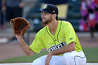 Outfielder Gene Cone (9) of the Columbia Fireflies before a game against the Augusta GreenJackets on Saturday, July 29, 2017, at Spirit Communications Park in Columbia, South Carolina. Columbia won, 3-0. (Tom Priddy/Four Seam Images)