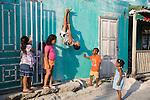 Local chidren playing in San Pedro, Ambergris Caye, Belize