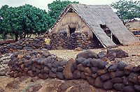 Historical structures at Lapakahi State Historical Park, the site of a restored 14th-century fishing village, on the Big Island