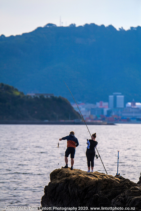 People fish in Shelley Bay during Level 3 lockdown for the COVID-19 pandemic in Wellington, New Zealand on Monday, 12 May 2020. Photo: Dave Lintott / lintottphoto.co.nz