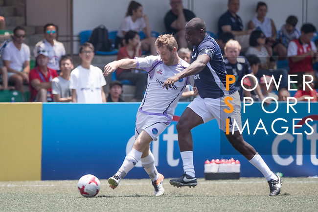 Discovery Bay (in white) vs playonPROS (in blue) during their Masters Tournament Plate Final match, part of the HKFC Citi Soccer Sevens 2017 on 28 May 2017 at the Hong Kong Football Club, Hong Kong, China. Photo by Chris Wong / Power Sport Images