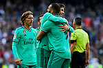 Fede Valverde (L) and Karim Benzema (R) of Real Madrid celebrate goal during La Liga match between Real Madrid and RCD Espanyol at Santiago Bernabeu Stadium in Madrid, Spain. December 07, 2019. (ALTERPHOTOS/A. Perez Meca)