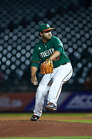 Miami Hurricanes relief pitcher Ryan Guerra (45) in action against the North Carolina Tar Heels in the second semifinal of the 2017 ACC Baseball Championship at Louisville Slugger Field on May 27, 2017 in Louisville, Kentucky. The Tar Heels defeated the Hurricanes 12-4. (Brian Westerholt/Four Seam Images)
