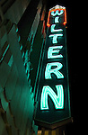 Neon lit sign outside of Art Deco Wiltern Theater in Los Angeles, CA