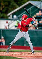 29 July 2018: Batavia Muckdogs first baseman Sean Reynolds at bat against the Vermont Lake Monsters at Centennial Field in Burlington, Vermont. The Lake Monsters defeated the Muckdogs 4-1 in NY Penn League action. Mandatory Credit: Ed Wolfstein Photo *** RAW (NEF) Image File Available ***