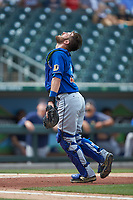Durham Bulls catcher Nick Ciuffo (19) on defense against the Charlotte Knights at BB&T BallPark on May 27, 2019 in Charlotte, North Carolina. The Bulls defeated the Knights 10-0. (Brian Westerholt/Four Seam Images)