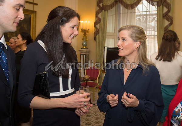 12 March 2018 - Sophie Countess of Wessex meets expedition leader Major Nics Wetherill during a reception at Buckingham Palace in London for the Ice Maidens, the first all female team to ski coast to coast across Antarctica. Photo Credit: ALPR/AdMedia