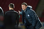St Johnstone v Aberdeen…13.12.17…  McDiarmid Park…  SPFL<br />Tommy Wright complains to the assistant<br />Picture by Graeme Hart. <br />Copyright Perthshire Picture Agency<br />Tel: 01738 623350  Mobile: 07990 594431