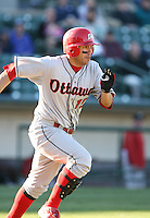 2007:  Jason Jaramillo of the Ottawa Lynx runs to first base after an at bat vs. the Rochester Red Wings in International League baseball action.  Photo By Mike Janes/Four Seam Images