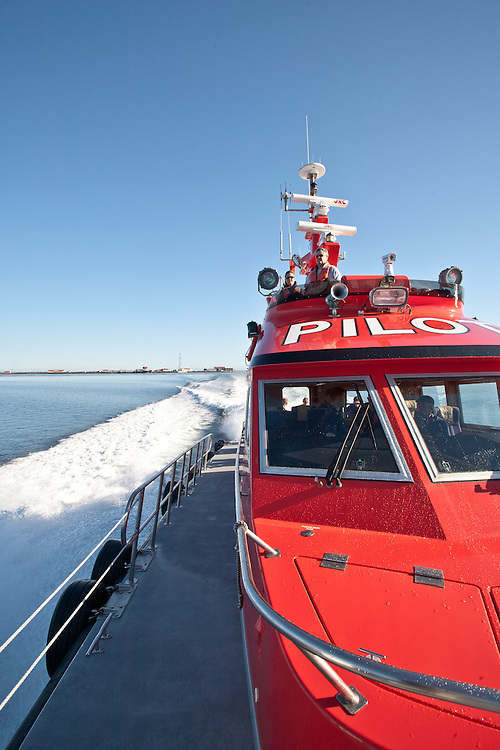 Port Angeles, Pilot boat, Tsunami Readiness drill, organized by, University of Washington Sea Grant, in cooperation with the, US Coast Guard, Puget Sound Pilots, and Clallam County, Ediz Hook, Puget Sound, Washington State,