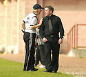 20040509    Copyright Pic: James Stewart.File Name : jspa22_clyde_v_ict.INVERNESS CALEY BOSS JOHN ROBERTSON IS HELD BACK BY THE PHYSIO.....James Stewart Photo Agency 19 Carronlea Drive, Falkirk. FK2 8DN      Vat Reg No. 607 6932 25.Office     : +44 (0)1324 570906     .Mobile  : +44 (0)7721 416997.Fax         :  +44 (0)1324 570906.E-mail  :  jim@jspa.co.uk.If you require further information then contact Jim Stewart on any of the numbers above.........