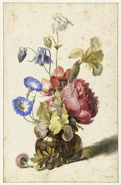 Flowers in bottle - by Dirck de Bray, 1674