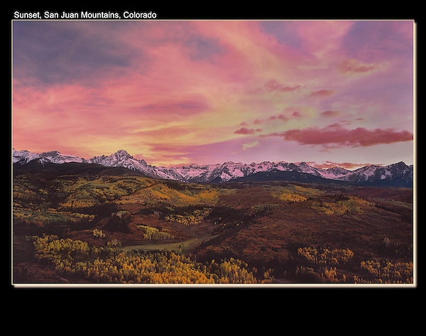 Sneffels Range at sunset in autumn, above Ridgeway.<br /> I've spent many months photographing this area, in all seasons. John offers guided, photo tours of Colorado's mountains. John guides custom photo tours in the Sneffels Range and throughout Colorado.