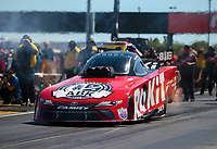 Sep 5, 2020; Clermont, Indiana, United States; NHRA funny car driver Alexis DeJoria during qualifying for the US Nationals at Lucas Oil Raceway. Mandatory Credit: Mark J. Rebilas-USA TODAY Sports