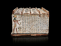 Ancient Egyptian shabti box, wood, Intermediate Period, 21st-22nd Dynasty (1076-746 BC), Thebes, Egyptian Museum, Turin.  Black background,<br /> <br /> Floor 1 room 10 of Museum - Among the 401 shabti found in this tomb were 36 overseerers, one for every 10 servants. These were maent to serve the deceased in the afterlife