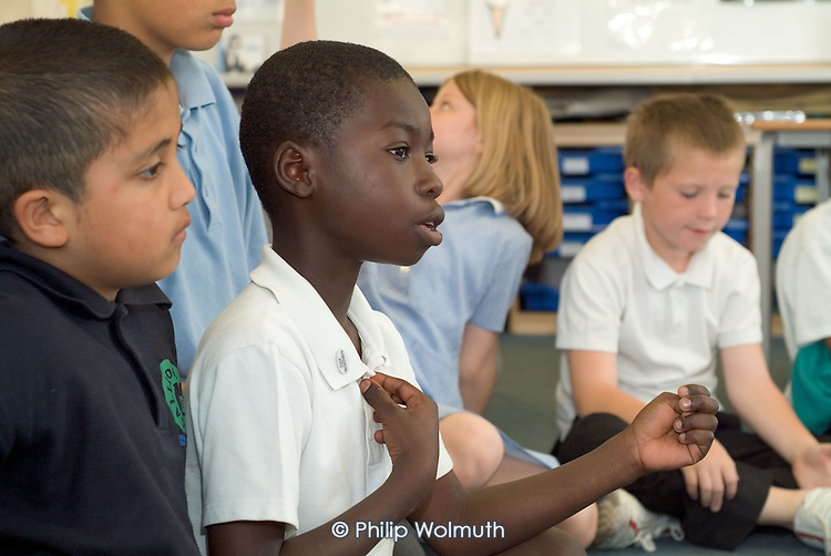 Philosophy for Children lesson at Gallions Primary School, Beckton, London. The course was organised by Antidote, an charity which campaigns for 'emotional literacy' in education.