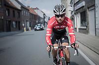 Kiel Reijnen (USA/Trek-Segafredo) on his way back to the peloton<br /> <br /> 72nd Dwars Door Vlaanderen (1.UWT)<br /> 1day race: Roeselare › Waregem BEL (203.4km)