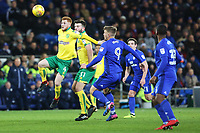 Harrison Reed of Norwich City is challenged by Danny Ward of Cardiff City during the Sky Bet Championship match between Cardiff City and Norwich City at The Cardiff City Stadium, Wales, UK. Friday 01 December 2017