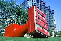 "Cleveland: ""Free Stamp"" by Claes Oldenburg and Coosje Van Bruggin, Lakeside at E. 9th. Dedicated in 1991 at Willard Park. Photo '01."