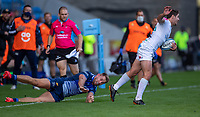 3rd October 2021; AJ Bell stadium, Eccles, Greater Manchester, England: Gallagher Premiership Rugby, Sale v Exeter ;  Facundo Cordero of Exeter Chiefs slips the tackle of  Sam Hill of Sale Sharks