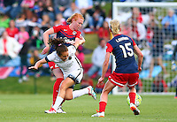 Boyds, MD - Saturday May 07, 2016: Washington Spirit midfielder Victoria Huster (23) clashes with Portland Thorns FC midfielder Meleana Shim (6) during a regular season National Women's Soccer League (NWSL) match at Maureen Hendricks Field, Maryland SoccerPlex. Washington Spirit tied the Portland Thorns 0-0.