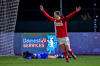 Standard forward Sanne Schoenmakers (8) after scoring the 0-2 during a female soccer game between  AA Gent Ladies and Standard Femina de Liege on the 8 th matchday of the 2020 - 2021 season of Belgian Scooore Womens Super League , friday 20 th of November 2020  in Oostakker , Belgium . PHOTO SPORTPIX.BE   SPP   STIJN AUDOOREN