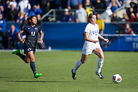 Cary, North Carolina - Sunday December 6, 2015: Taylor Racioppi (7) of the Duke Blue Devils keeps the ball away from the pursuit of Raquel Rodriguez (11) of the Penn State Nittany Lions during first half action at the 2015 NCAA Women's College Cup at WakeMed Soccer Park.  The Nittany Lions defeated the Blue Devils 1-0.