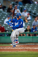 Rancho Cucamonga Quakes third baseman Rylan Bannon (25) at bat during a California League game against the Stockton Ports at Banner Island Ballpark on May 16, 2018 in Stockton, California. Rancho Cucamonga defeated Stockton 6-3. (Zachary Lucy/Four Seam Images)