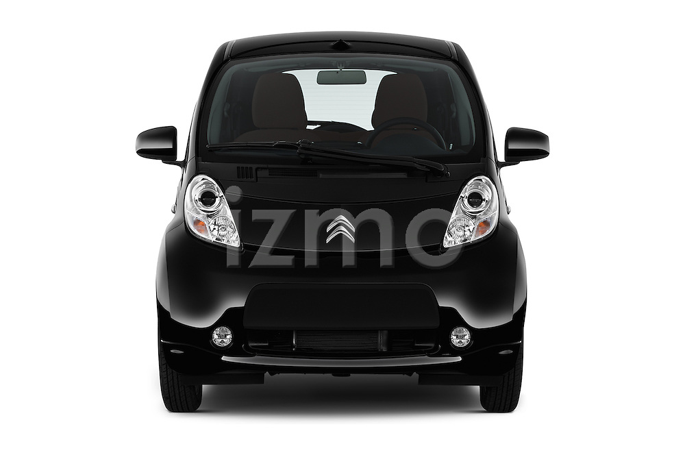 Car photography straight front view of a 2016 Citroen C-Zero Confort 5 Door Micro Car Front View