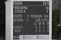 The overnight score remains unchanged on the day three scoreboard during Somerset CCC vs Essex CCC, Specsavers County Championship Division 1 Cricket at The Cooper Associates County Ground on 25th September 2019