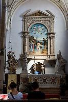 """Interno della chiesa di San Giovanni in Bragora a Venezia. Sullo sfondo, """"Il battesimo di Cristo"""" dipinto da Cima da Conegliano<br /> Interior of the church of San Giovanni in Bragora, in Venice.<br /> At background the """"Christ's Baptism"""" painting by Cima da Conegliano.<br /> UPDATE IMAGES PRESS/Riccardo De Luca"""